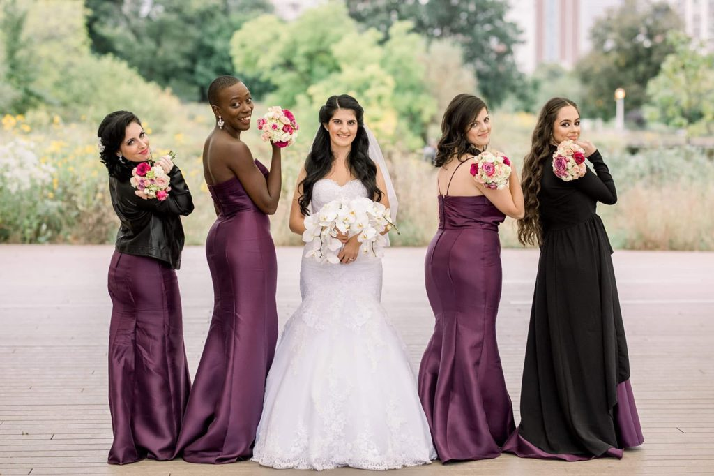 bridesmaids lined up